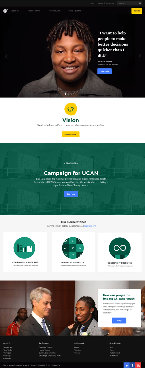 final design for the UCAN website nonprofit ux design project