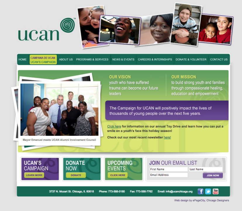 A screenshot of the UCAN homepage prior to Fuzzy Math's engagement