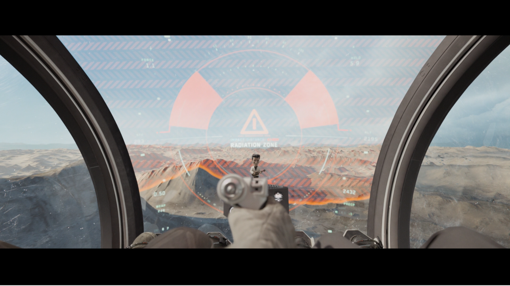 View from inside Jack from the movie Oblivions bubble ship showing a warning display on the shield of radiation zone