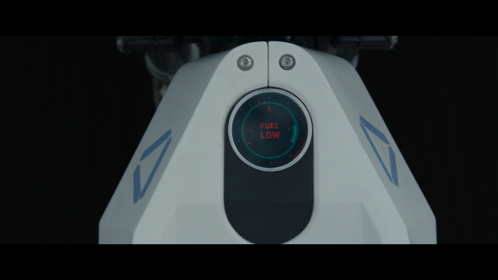 View of Jack from the movie Oblivions motorcycle interface display showing that the fuel is low