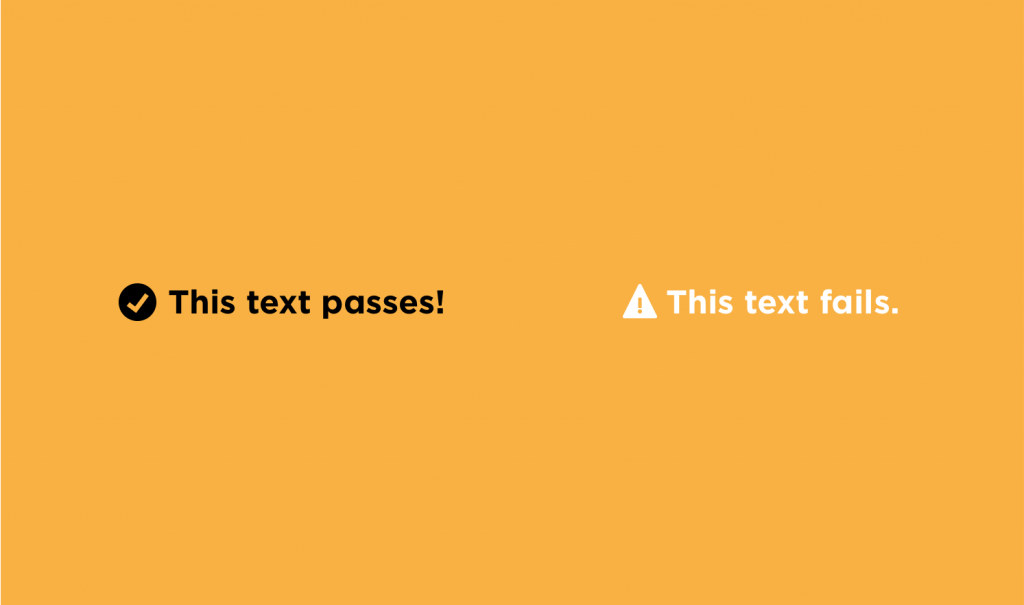 Image comparing text that passes web accessibility standards versus text that doesn't pass
