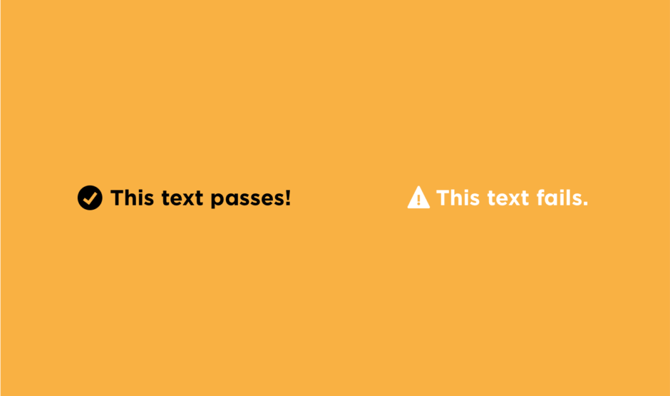 Image comparing text that passes web accessibility standards versus text that doesn't pass standards to aid in accessibility for the visually impaired.