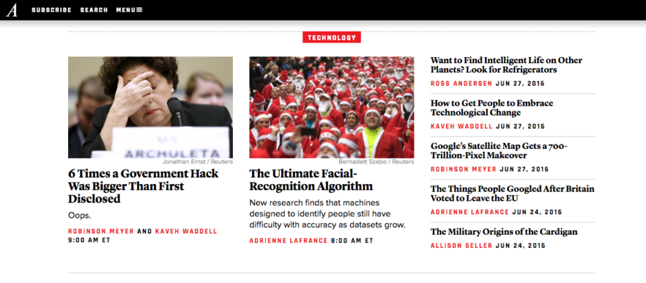 The Atlantic's home page uses meaningful headings to organize page content in a way that aids in accessibility for visually impaired or blind users.