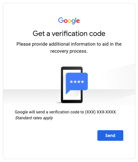 A screenshot of instructions from Google's password recovery screen which is similar to other safer products, including