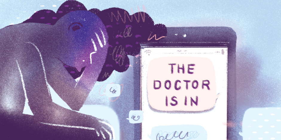 "a person looking sad with a phone screen saying ""the doctor is in"" representing technology and mental health"