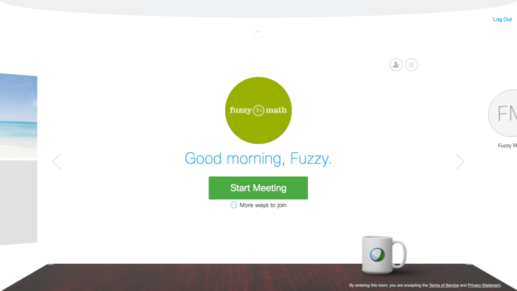 Webex welcome screen