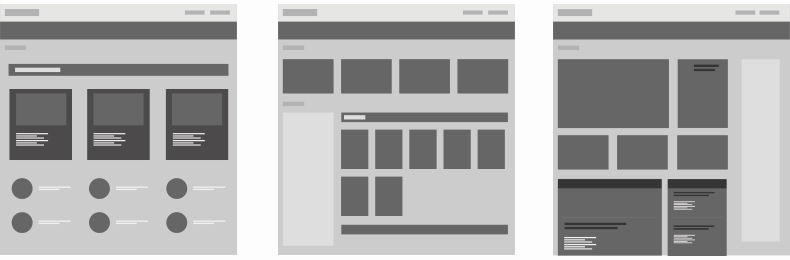 A set of three website wireframes. Wireframes are a crucial part of showing your process in a UX portfolio