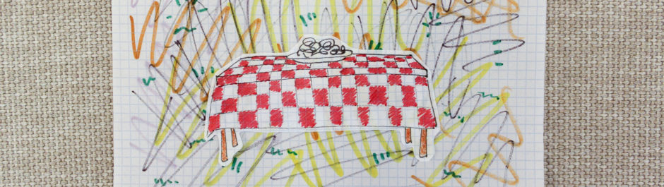 A sketch of a table with a tablecloth, surrounded by squiggly, chaotic lines representing restaurants on our list of things that need to be redesigned.