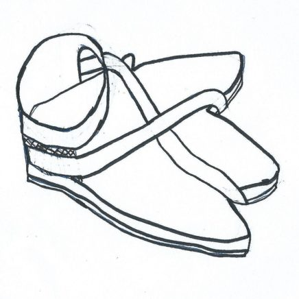 A drawing of sandals