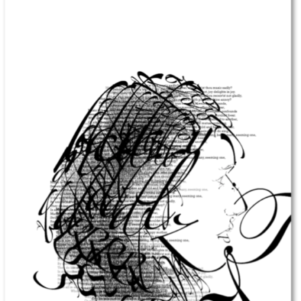 "Digital portrait of a woman made out of music note symbols, with words ""Sonnet 8"" in the upper right corner"