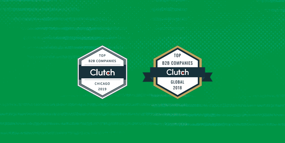 Two hexagon banners, one describing Clutch.com's top B2B companies of Chicago 2019, and one describing Clutch.com's top B2B companies globally 2018, against a green Fuzzy Math background