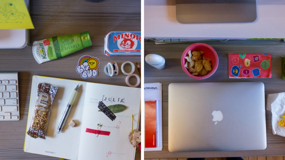 A split screen view of two photos of desks, taken from above. One has an open notebook with doodles, leaves, and assorted knick-knacks. The other has a closed Macbook and assorted snacks.