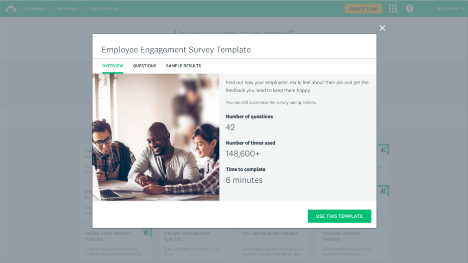 A screenshot of an Employee Engagement Survey Template from SurveyMonkey