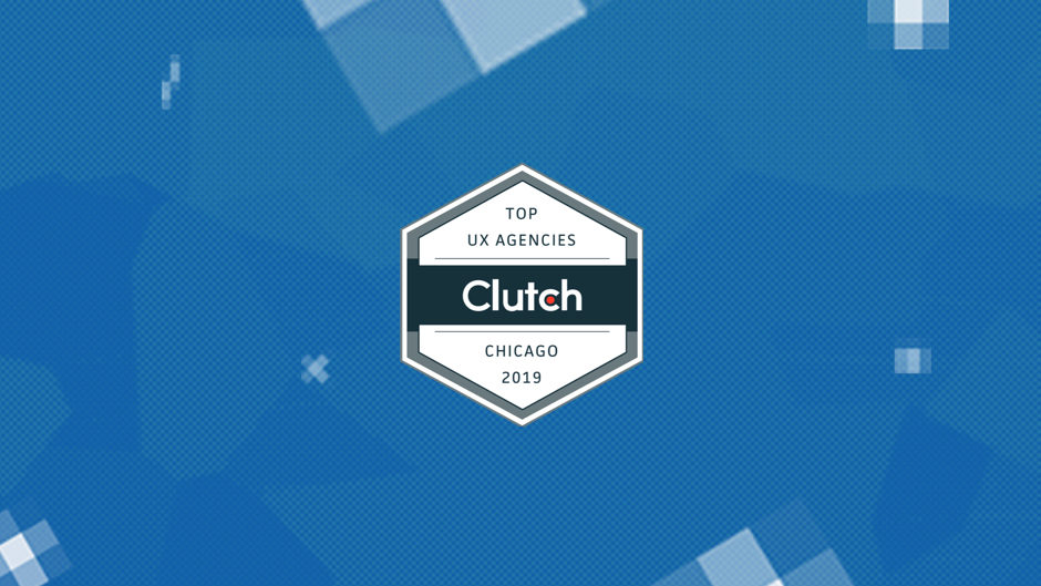 Clutch.com top UX agencies of Chicago 2019 against Fuzzy Math pixel background