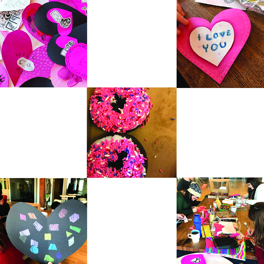 Valentines day cards, People crafting valentines day cards on table, Valentines donuts with sprinkles