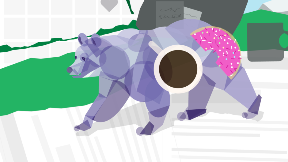 Illustration of a bear made up of office supplies, a coffee cup, and a donut to illustrate ethnographic research in design.