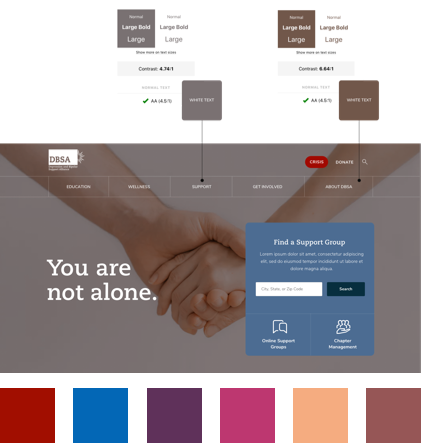 Detailed view of accessible color analysis results