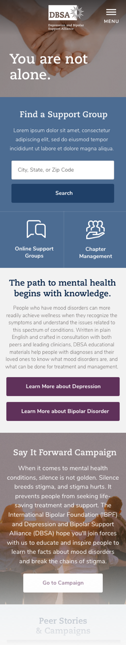 New DBSA home page design on mobile