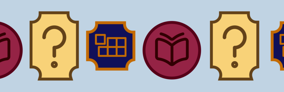 A collection of badges representing UX skills: understanding complex systems, asking questions, and storytelling