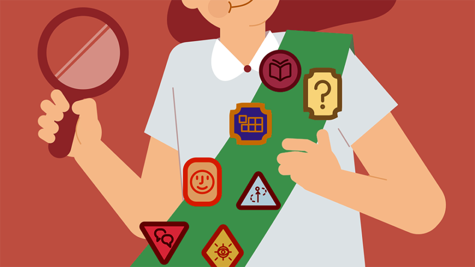 An illustration of a girl scout holding a magnifying glass. She is wearing a sash with seven badges representing UX skills, including curiosity, communication, asking questions, understanding complex systems, and storytelling.