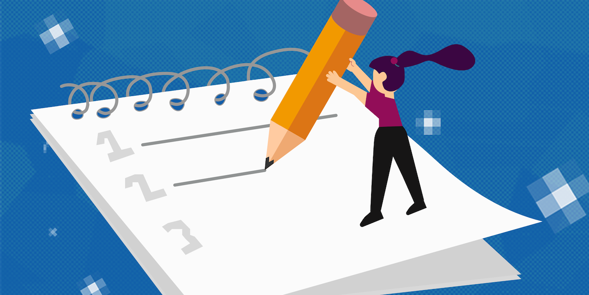 An illustration of a designer standing on a giant notepad holding a giant pencil. She's writing three tips for digital product designers.