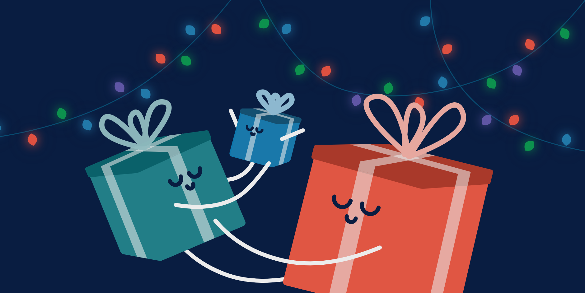 An illustration of wrapped gift boxes to illustrate the biggest design innovations of the 2010s