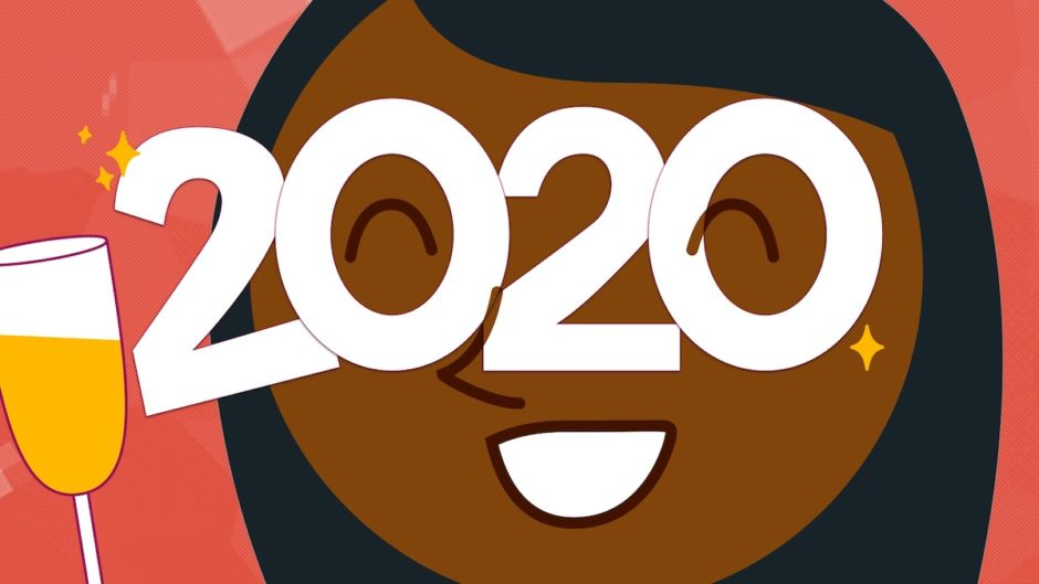 "A illustration of a woman on New Years Eve wearing ""2020"" party glasses and holding a glass of champagne."