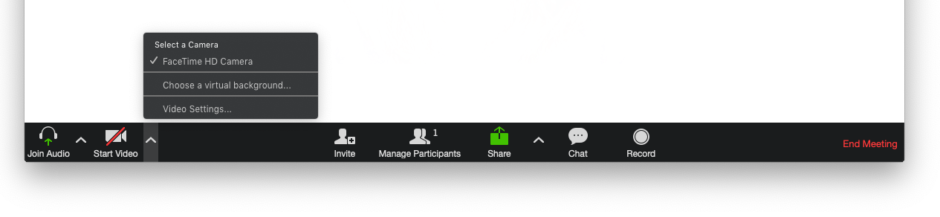 A screenshot of the Zoom action menu, showing additional video settings recommended for remote meetings.