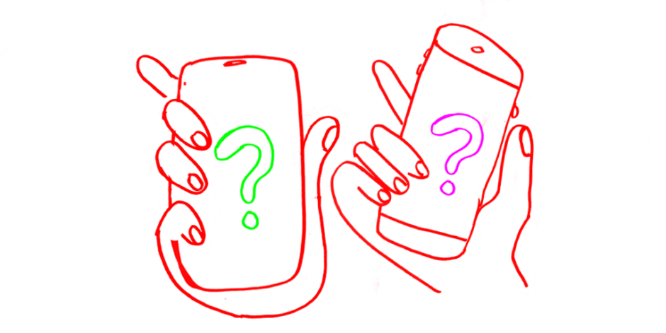 Illustration of two hands holding cellphones