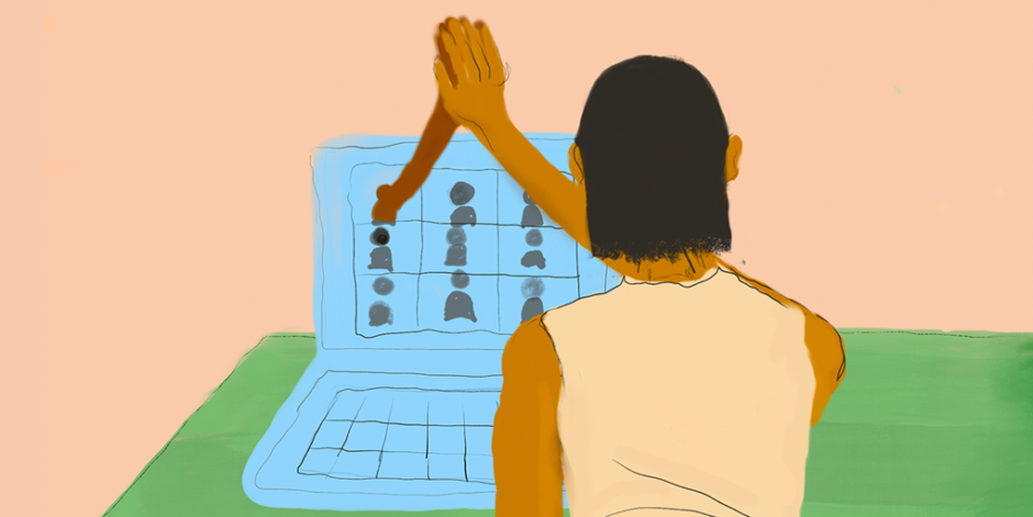 Illustration depicting someone giving a high-five through their laptop screen