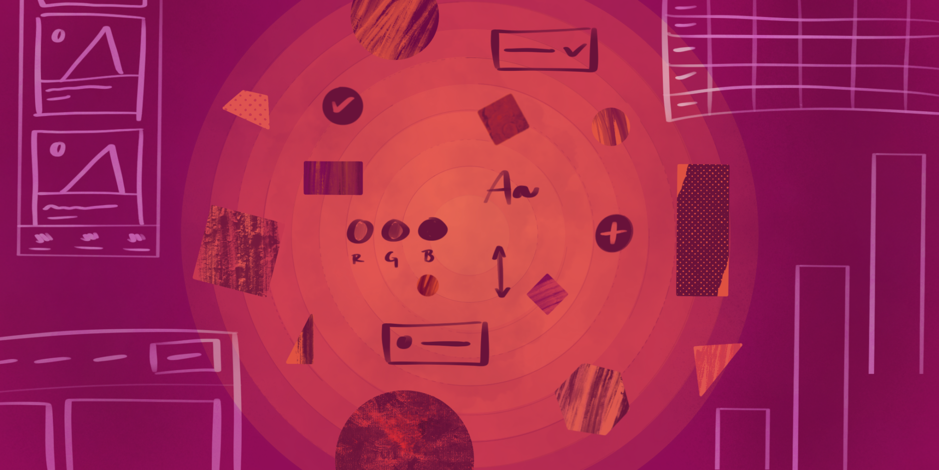 UX Design System elements laid out among geometric shapes