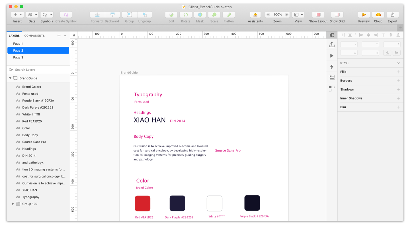Brand Guide in Sketch - Use Sketch for UX Design: The Ultimate Guide