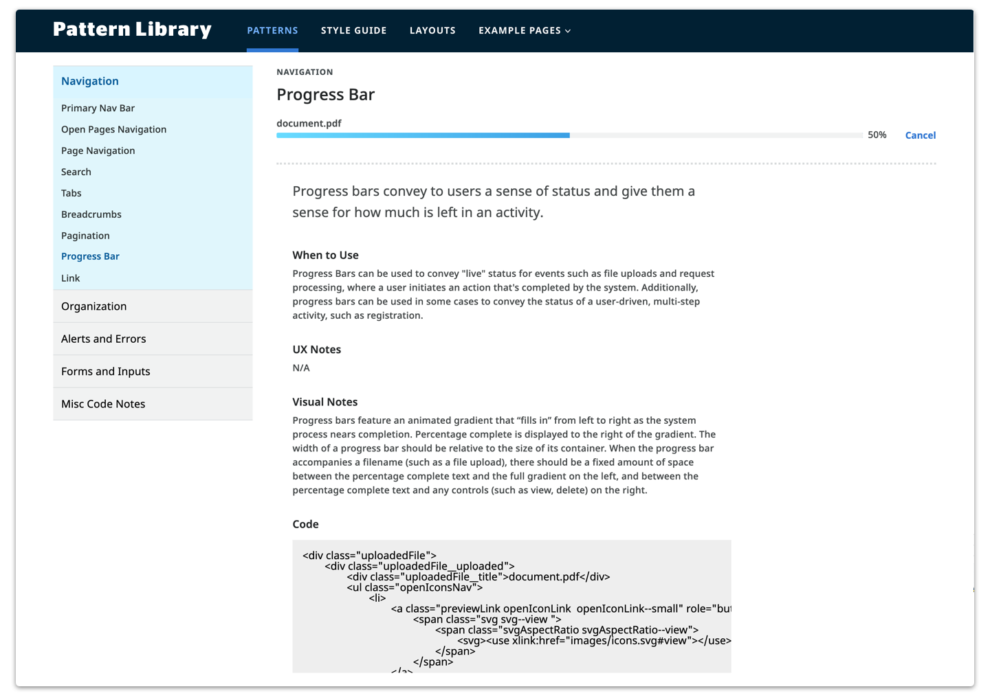 UX Design System Pattern Library
