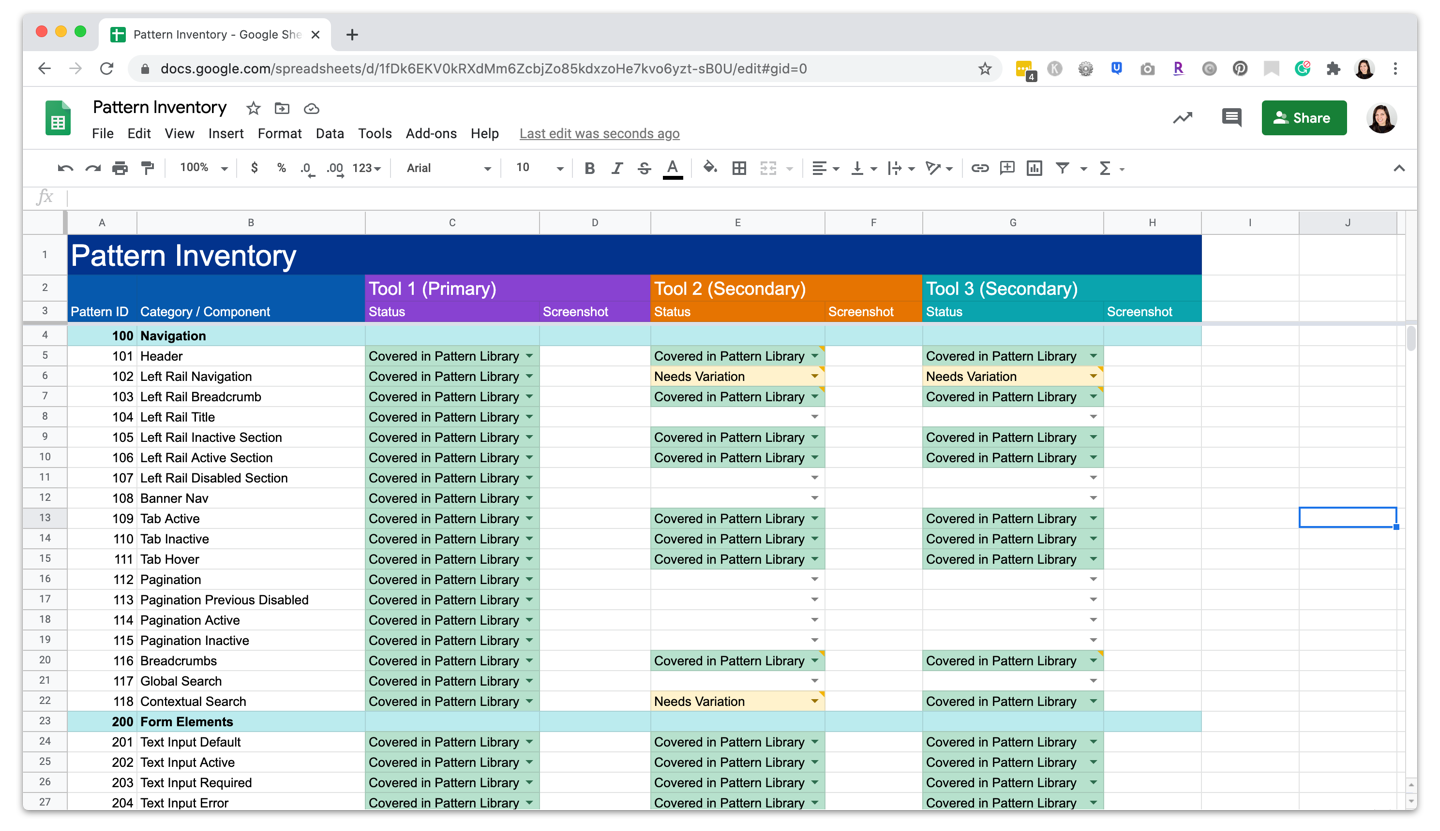 Screenshot of UX Design System Pattern Inventory in Google Sheets
