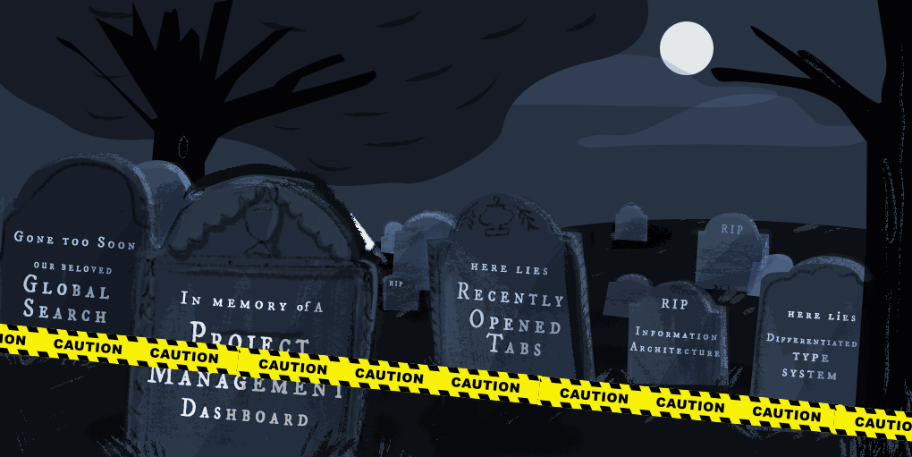 Illustration of a graveyard, with gravestones listing examples of good ux designs that died during the process