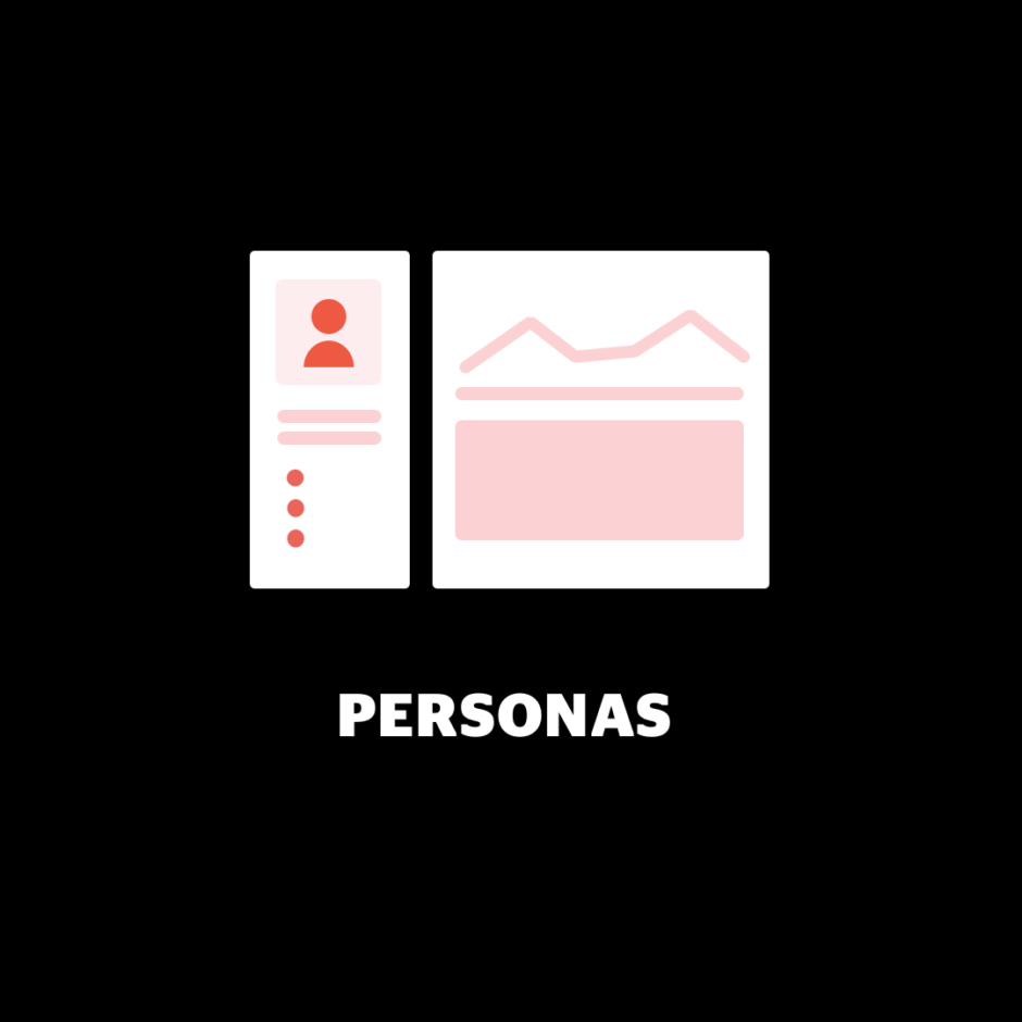 """Pared down illustration of a persona overview on a black background with white text that reads """"Personas""""."""