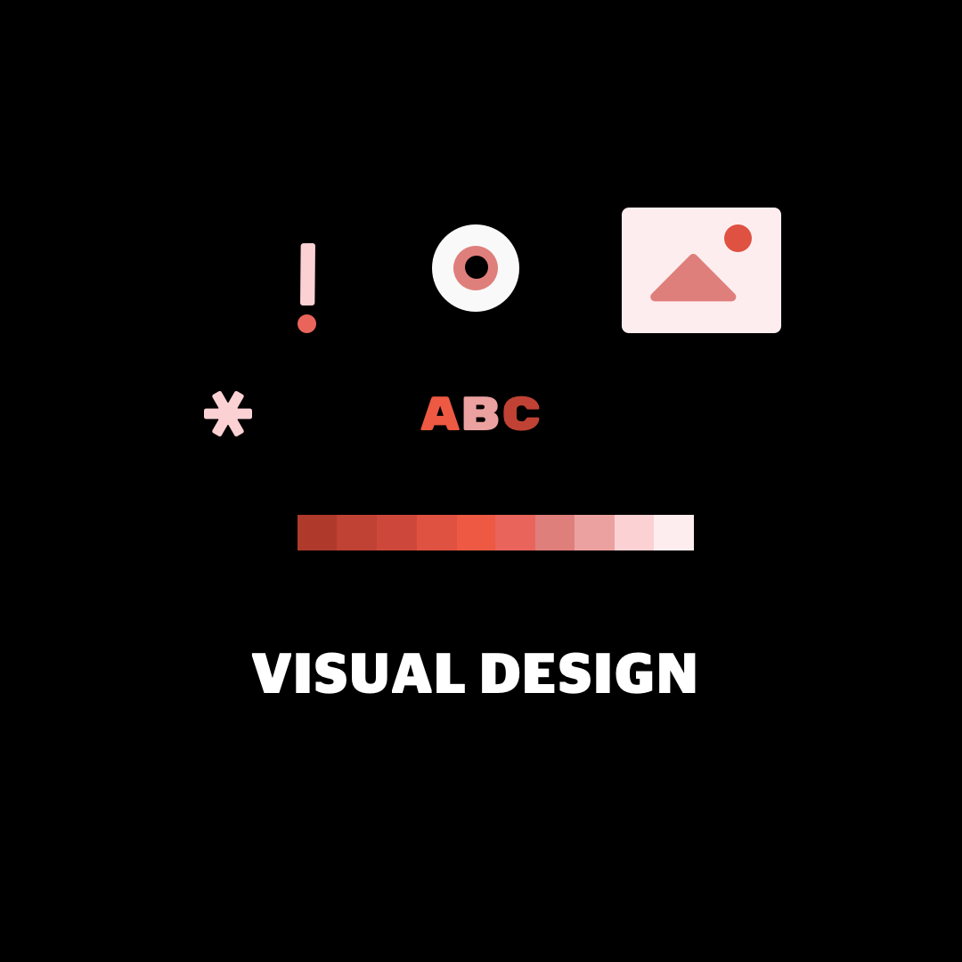 """Pared down illustration of visual design components on a black background with white text that reads """"Visual Design""""."""