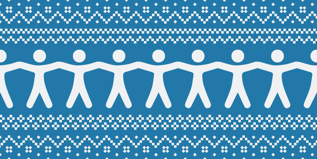 December newsletter feature image depicting holiday sweater-style repeated pattern of web accessibility human logo