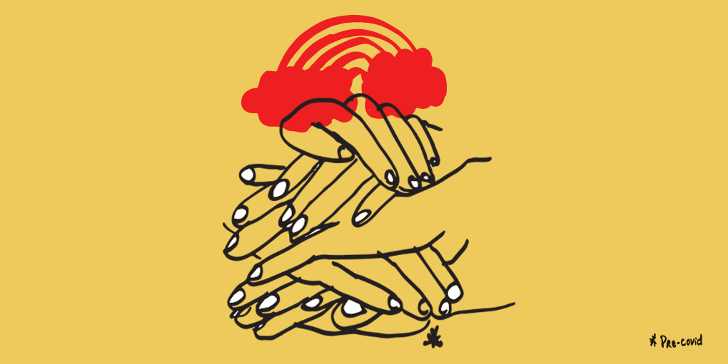 How UX and Visual Designers Work Together blog feature image. Illustration of hands piled on top of each other on a dull yellow backgroun accompanied by a red rainbow with red clouds on top of the pile.