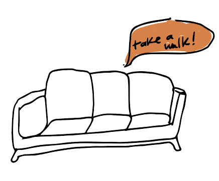doodle of a couch telling someone to take a walk