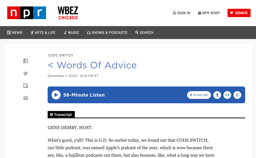 Screenshot of NPR's website featuring a podcast transcript.