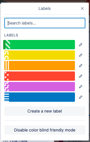 Screenshot of a Tello board labels featuring patterns to differentiate each of them.