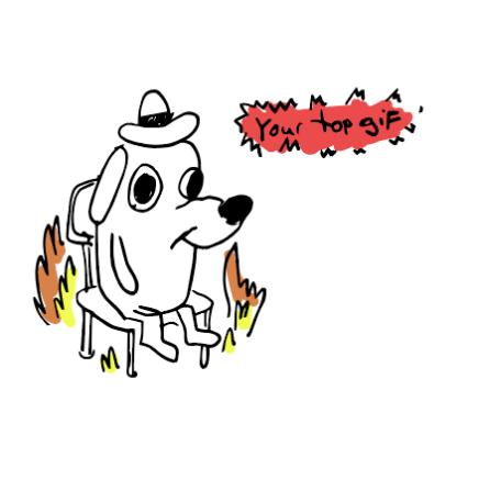 doodle of the meme im fine dog