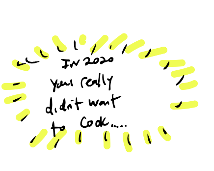 Doodle with the text In 2020 you really didn't want to cook