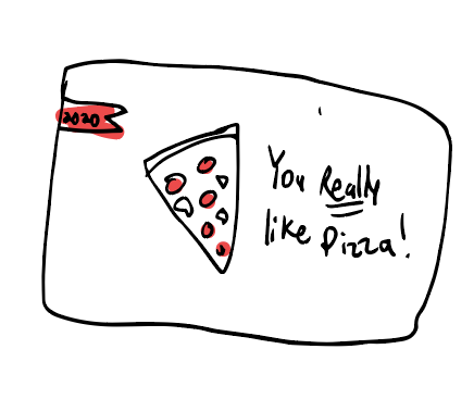 Doodle of pizza and the words You really like pizza
