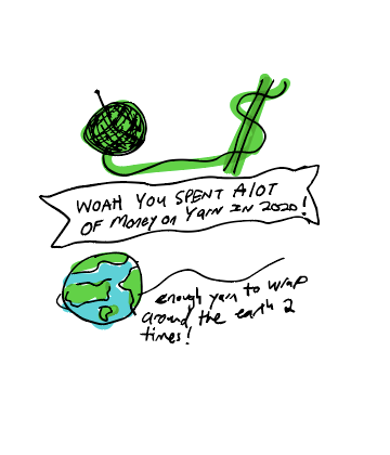 Doodle of a yarn ball turning into a dollar bill