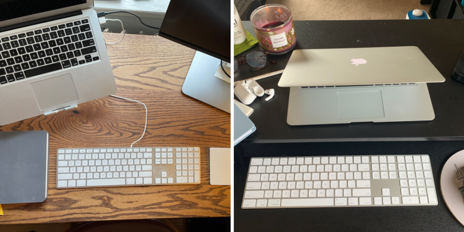 Combined images of Lilly's and Abbie's work from home desks.
