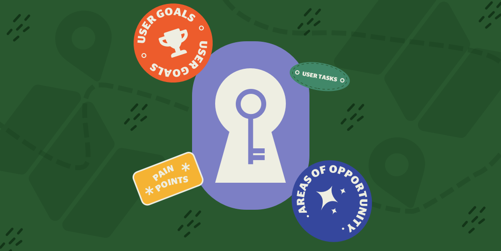Illustration featuring a key and patches with user journey map key elements on a green background.