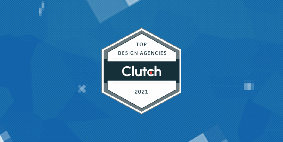 Top Design Agencies Clutch 2021 badge on blue, pixel illustrated background.