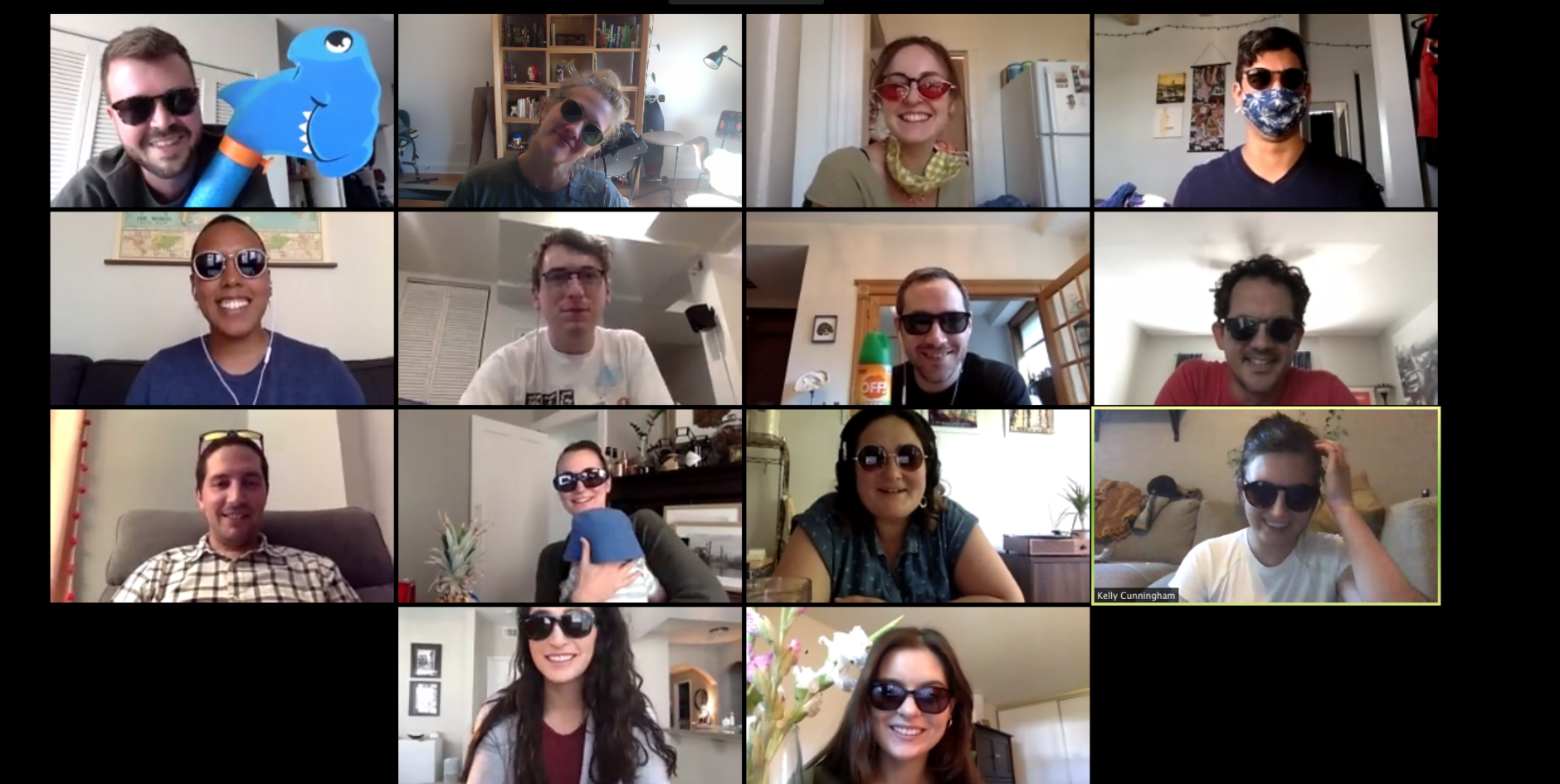 Screenshot of the Fuzzy Math Team on a Zoom call all wearing sunglasses.